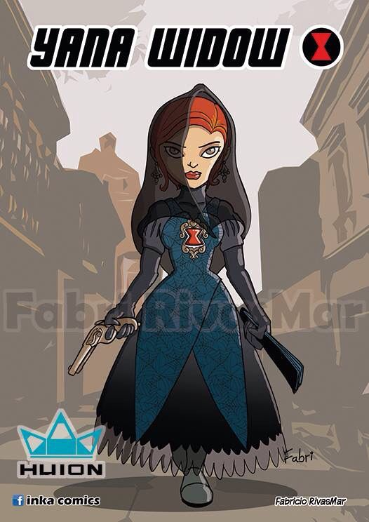 Black Widow as Yana Widow, a Tapada from colonial Lima, Peru #inkavengers #inkacomics #fabririvasmar #blackwidow #marvel #perucomics #qosqomic