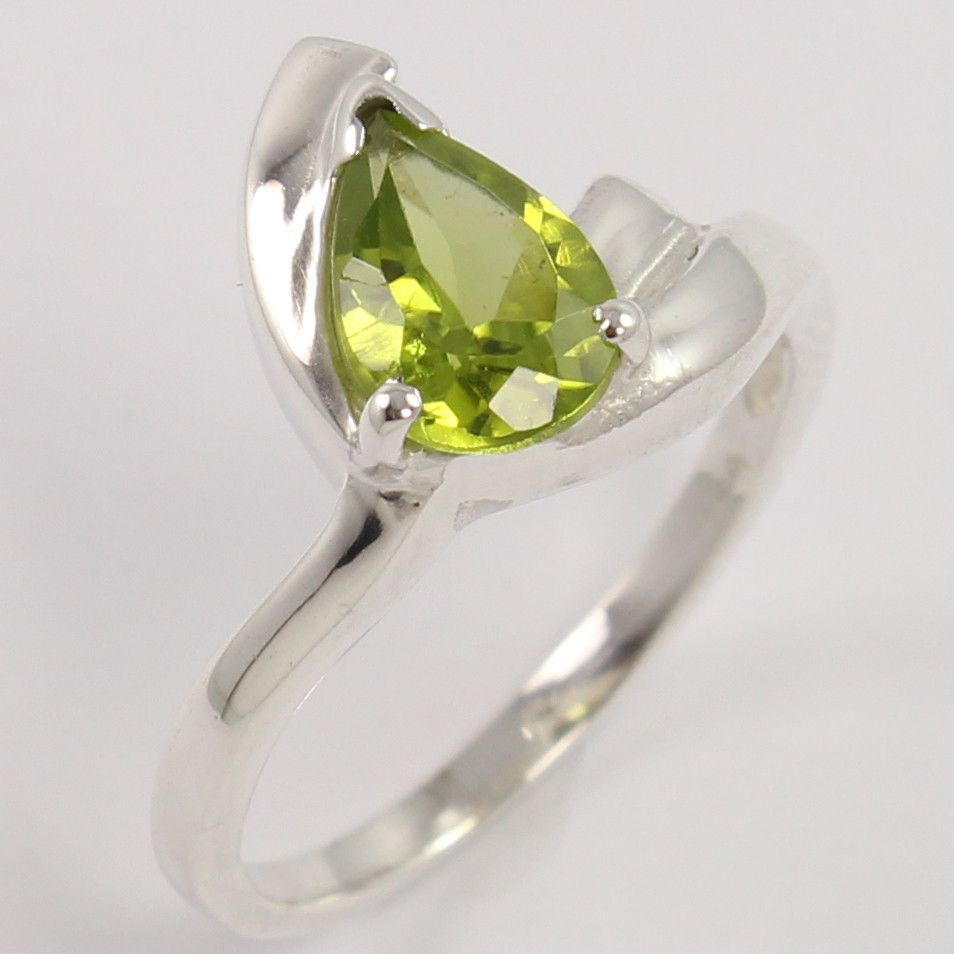 Unique Style 925 Sterling Silver Ring Size US 6.25 Natural PERIDOT Pear Gemstone #Unbranded