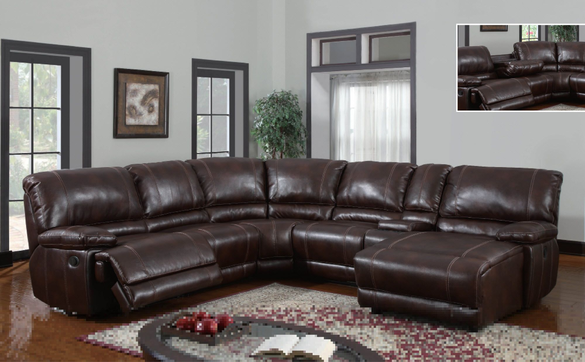 U1953 Global Furniture USA Sectional With Power Recliner And Chaise  Www.furnitureurban.com