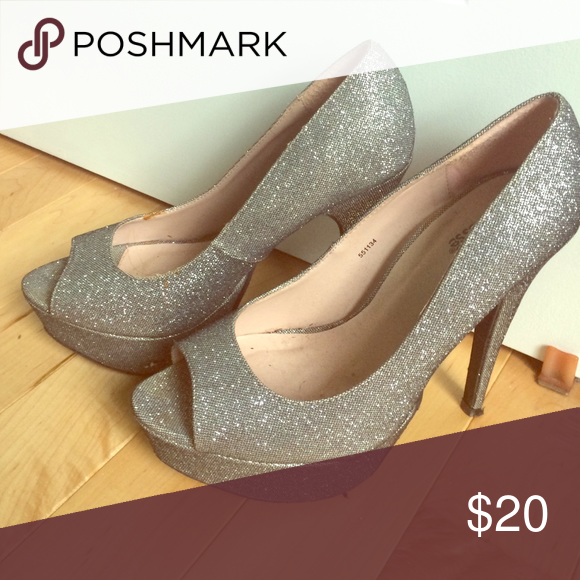 Silver glitter platform heels ! Charlotte Russe silver glitter platform heels Charlotte Russe Shoes Platforms