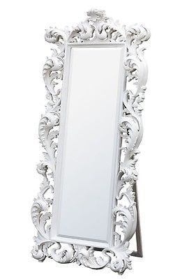 Extra Large Tall Rococo French White Floor Free Standing Mirror