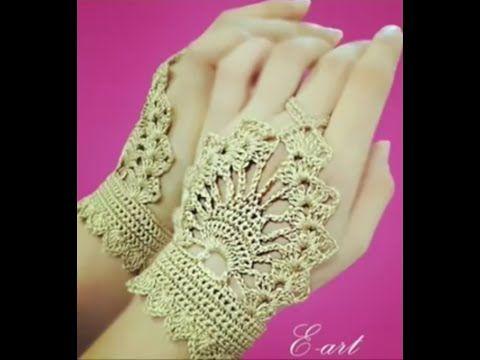 crochet bracelet palm of the hand - YouTube #gloves