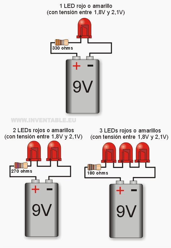 leds a 9v por ejemplos más