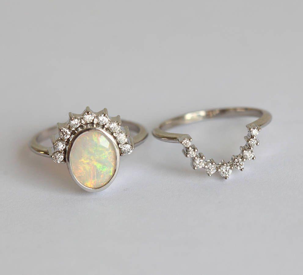 Rainbow Opal And Diamond Crown Ring Set | Capucinne