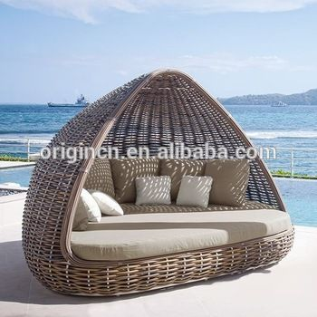 home patio beach thick rattan material pyamidal cocoon shaped chair outdoor wicker daybed