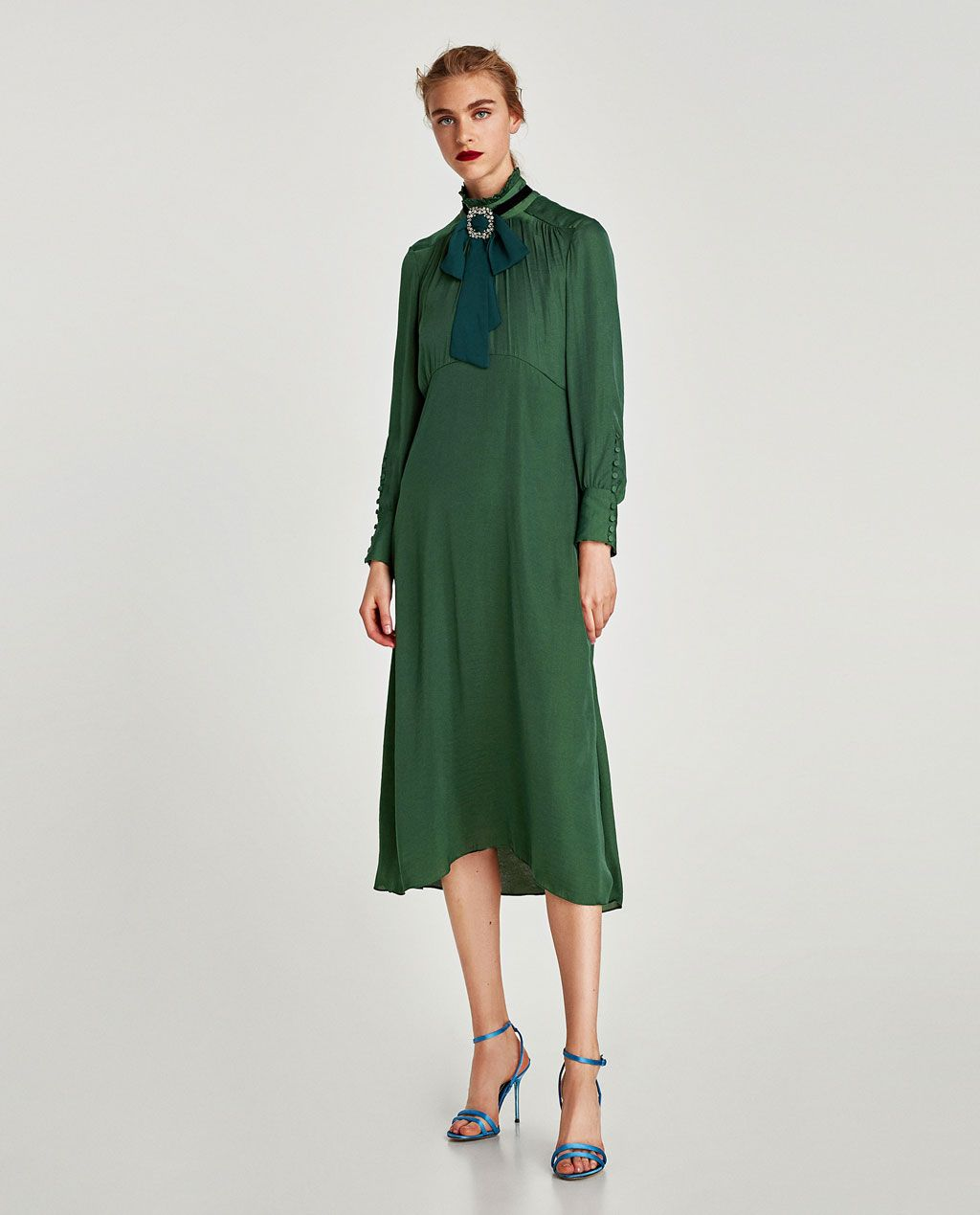1efb940e Image 1 of FLOWING MIDI DRESS WITH LONG SLEEVES from Zara | Autumn ...