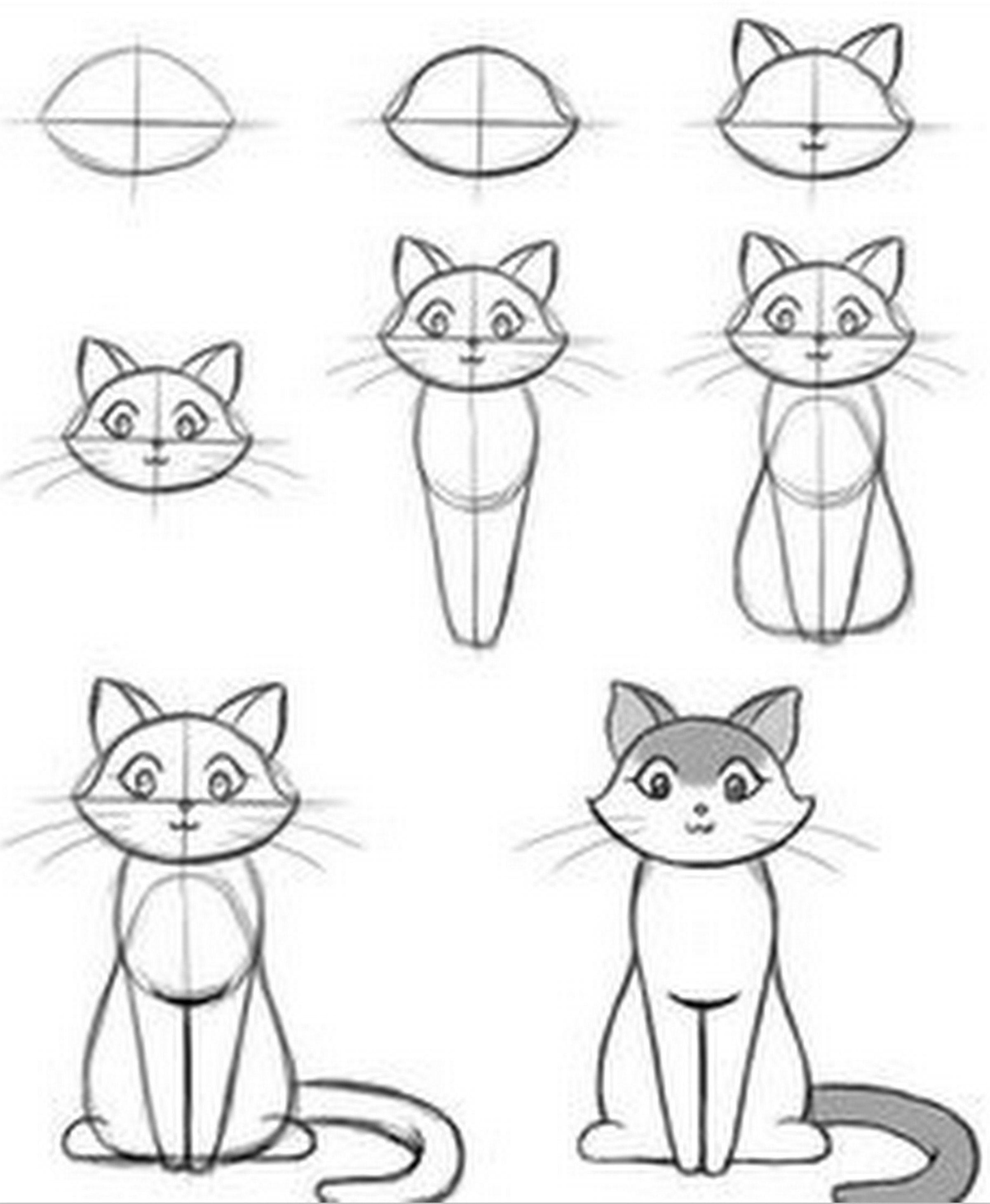 Apprendre à Dessiner Un Chat : apprendre, dessiner, Tutoriels, Dessiner, Dessin, Chat,, Comment, Dessins, Faciles