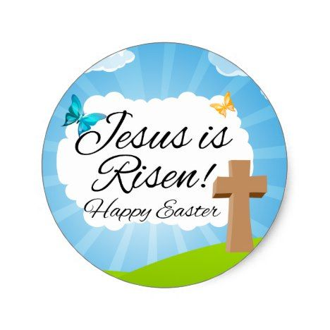Jesus is risen christian easter classic round sticker easter jesus is risen christian easter classic round sticker easter crafting supplies craft negle Images