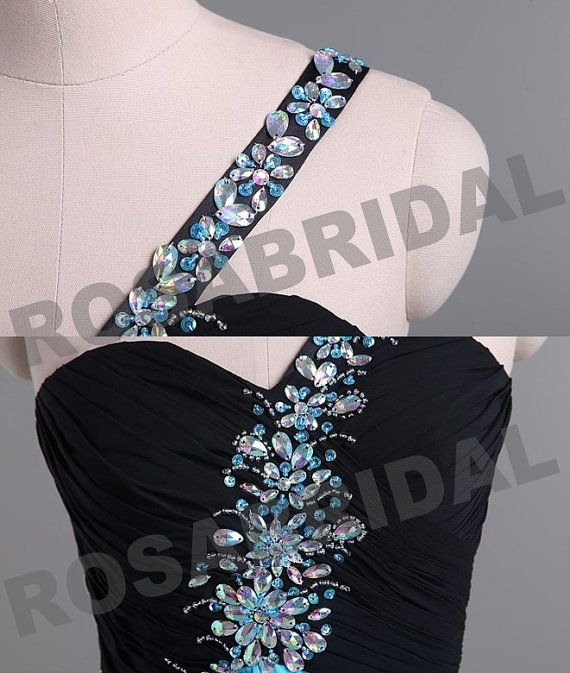 New Style 2014 Cheap Discount One Shoulder Beading Blue Chiffon Prom Dress Formal Gown Evening Party Dress Custom 2 4 6 8 10 12 14 16 16w