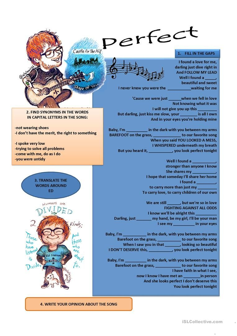 SONG- PERFECT BY ED SHEERAN worksheet - Free ESL printable ...