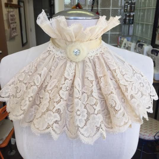 White Vintage Lace Bib by ShredsThreads on Etsy