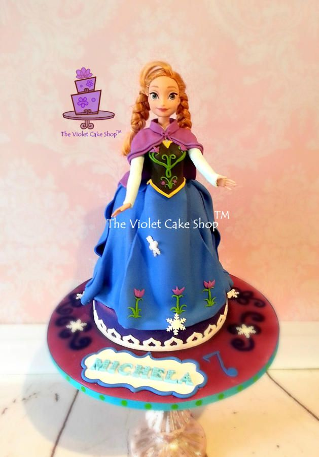 Cake Decoration Doll : ANNA - Frozen Themed Doll Cake for Michela - Cake by Violet - The Violet Cake Shop Cakes ...