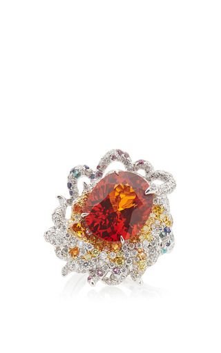 This 18K white gold ring by **Anna Hu Haute Joillerie** features a mandarin garnet center stone surrounded by yellow diamonds and diamonds.