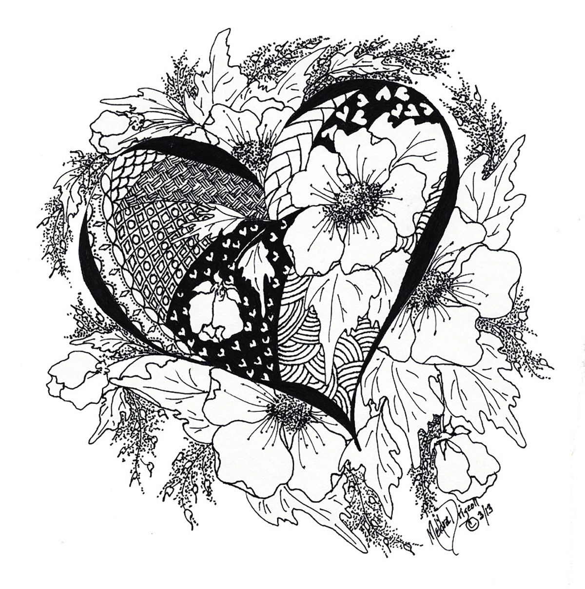 Heart with flowers and leavesfrom the gallery zen coloring pages