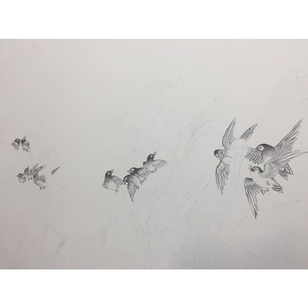 Today.work in progress. #drawing #brushwork #birds