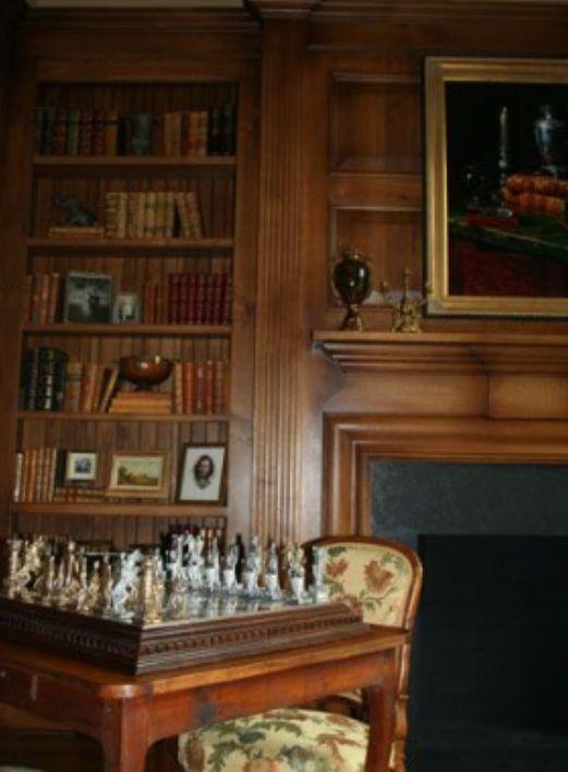 English Paneled Room: With Dark Stained Wood, Fireplace, Wood-paneled