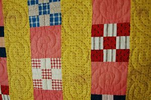 CHEERY-Nine-Patch-Bars-Antique-Quilt-NICE-VINTAGE-FABRICS-YELLOW-CALICOS