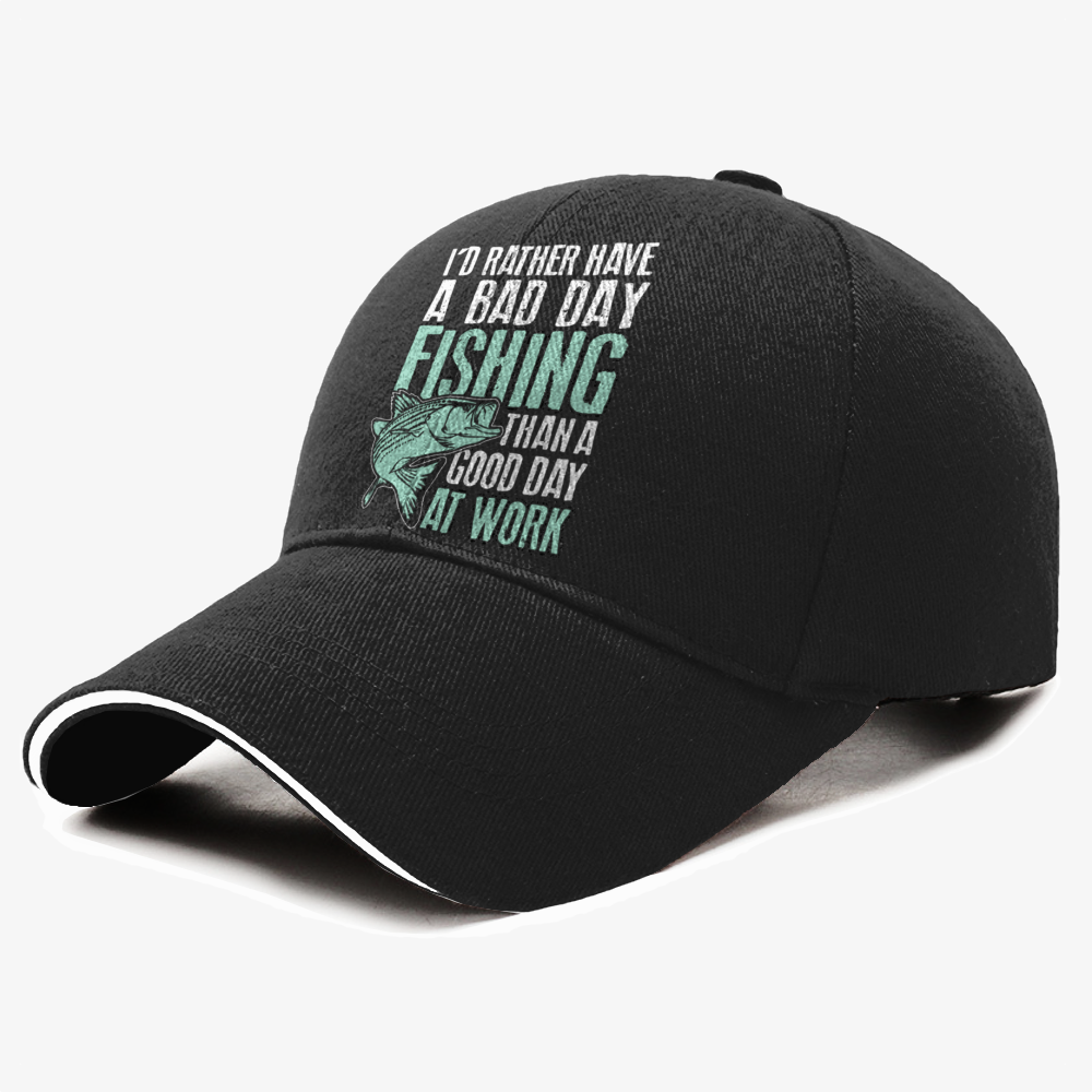 The I'd Rather Have A Bad Day Fishing Than A Good Day At Work Baseball Cap is from our new collection, a personalized cap that shows your pride and passion with graphics featuring i'd rather have a bad day fishing than a good day at work from fishing.ssssplitter