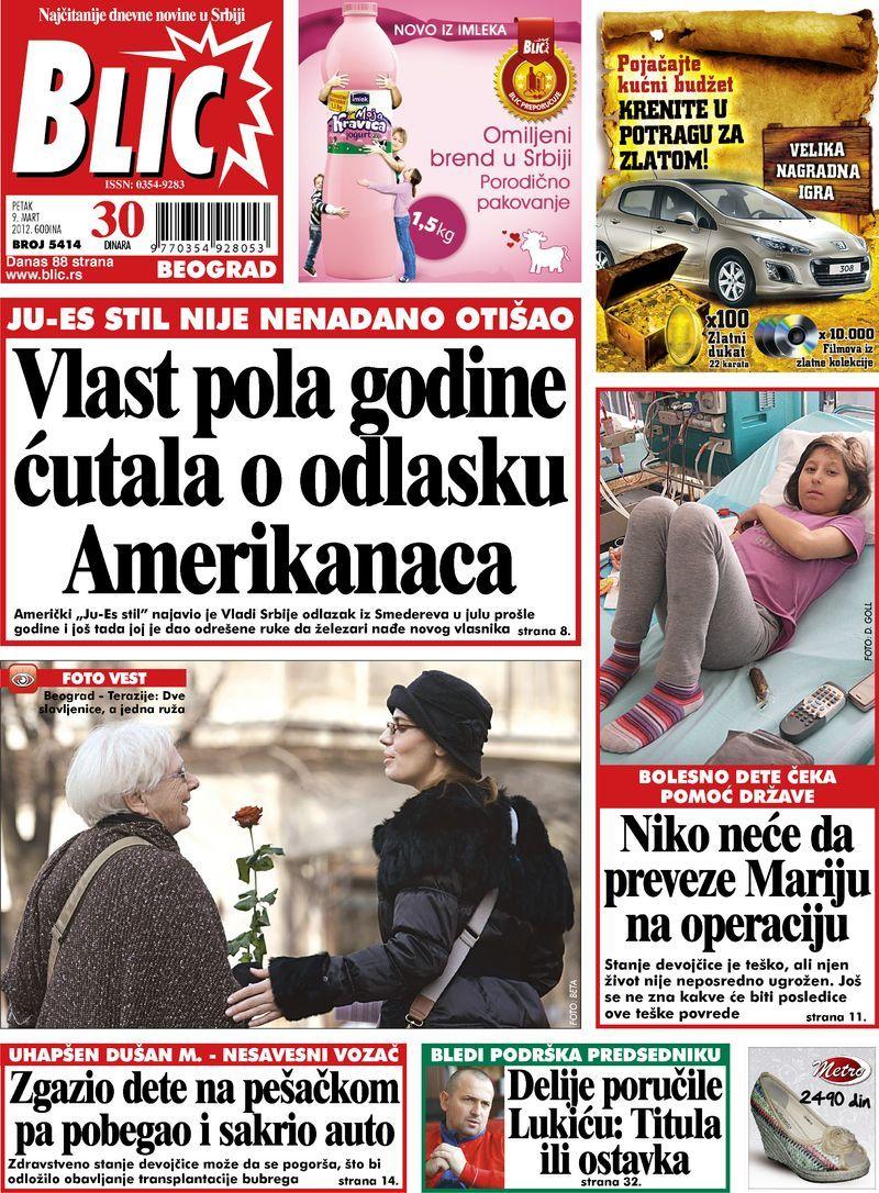 "Naslovna strana ""Blica"" za 9. mart 2012. Baseball cards"