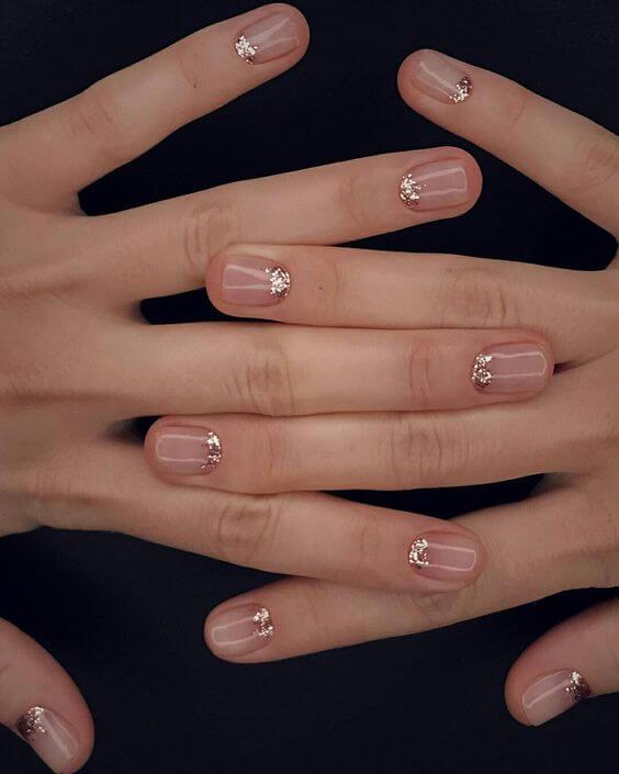 47 Beautiful Nail Art Designs & Ideas : Glam nude pink nails