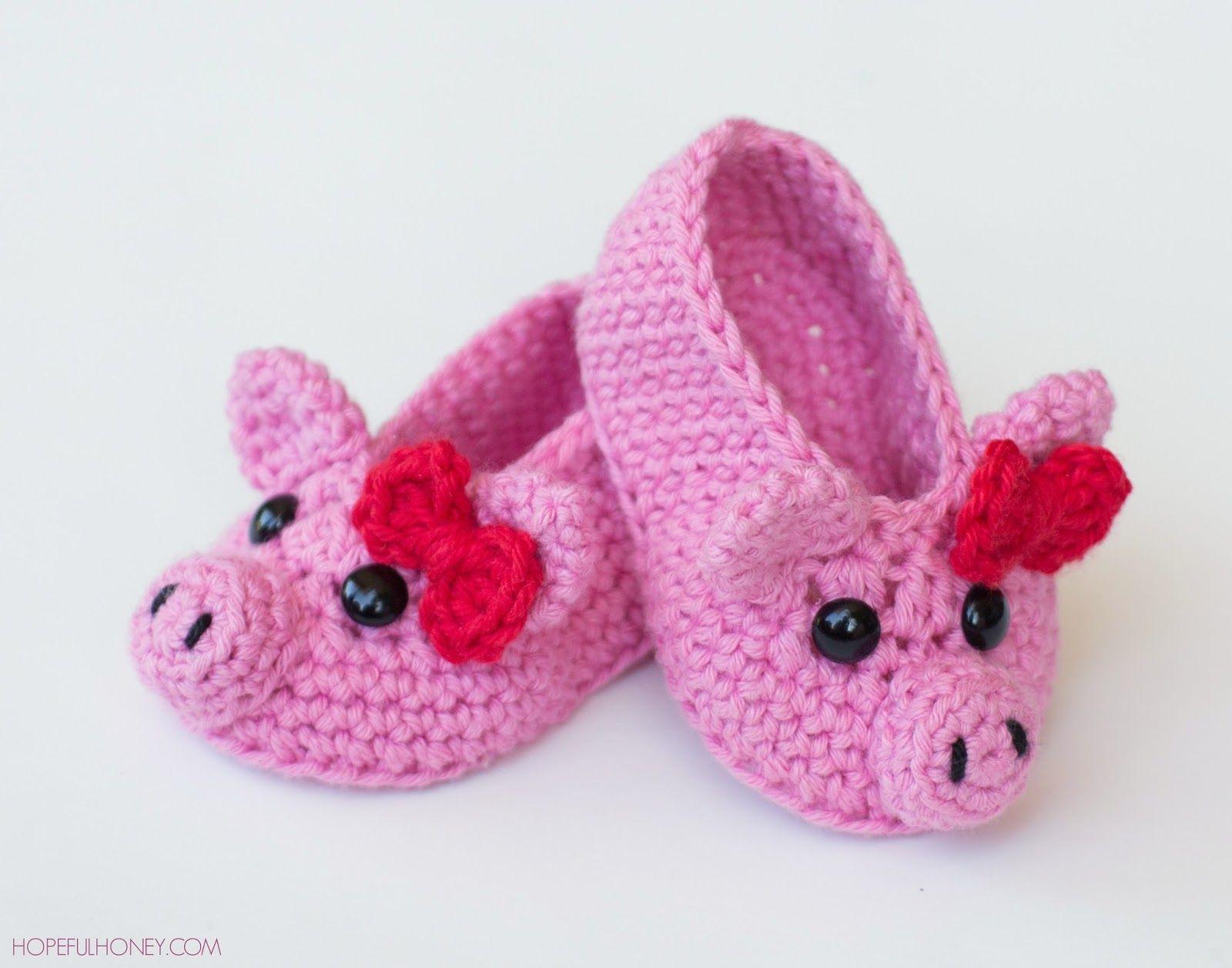 Pink Piggy Baby Booties Crochet Pattern   Pinterest