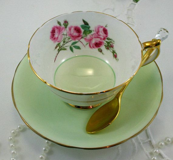 Beautiful Teacup & Saucer, Pastel  Green Borders, Pink Rose Accent,  Fine Bone China made by Aynsley in England.