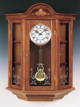 seiko oak curio cabinet pendulum wall clock