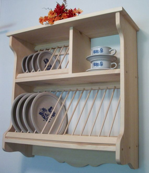 PLATE RACK WOOD wooden wall counter new by OldYankeeWorkshop & PLATE RACK WOOD wooden wall counter new by OldYankeeWorkshop ...