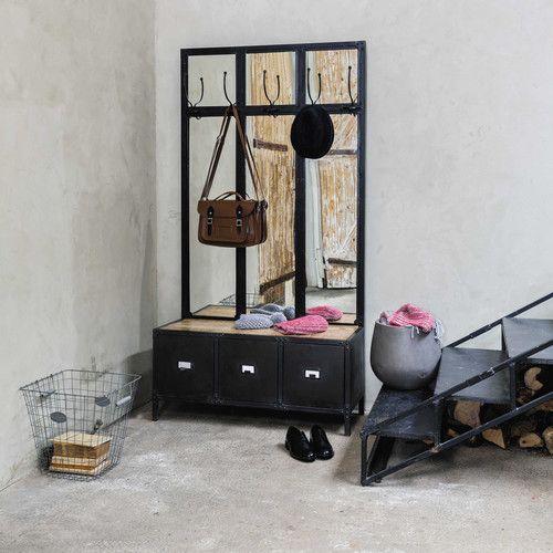 Mobile d 39 entrata con specchio in metallo nero mobili e for Arredamento maison du monde