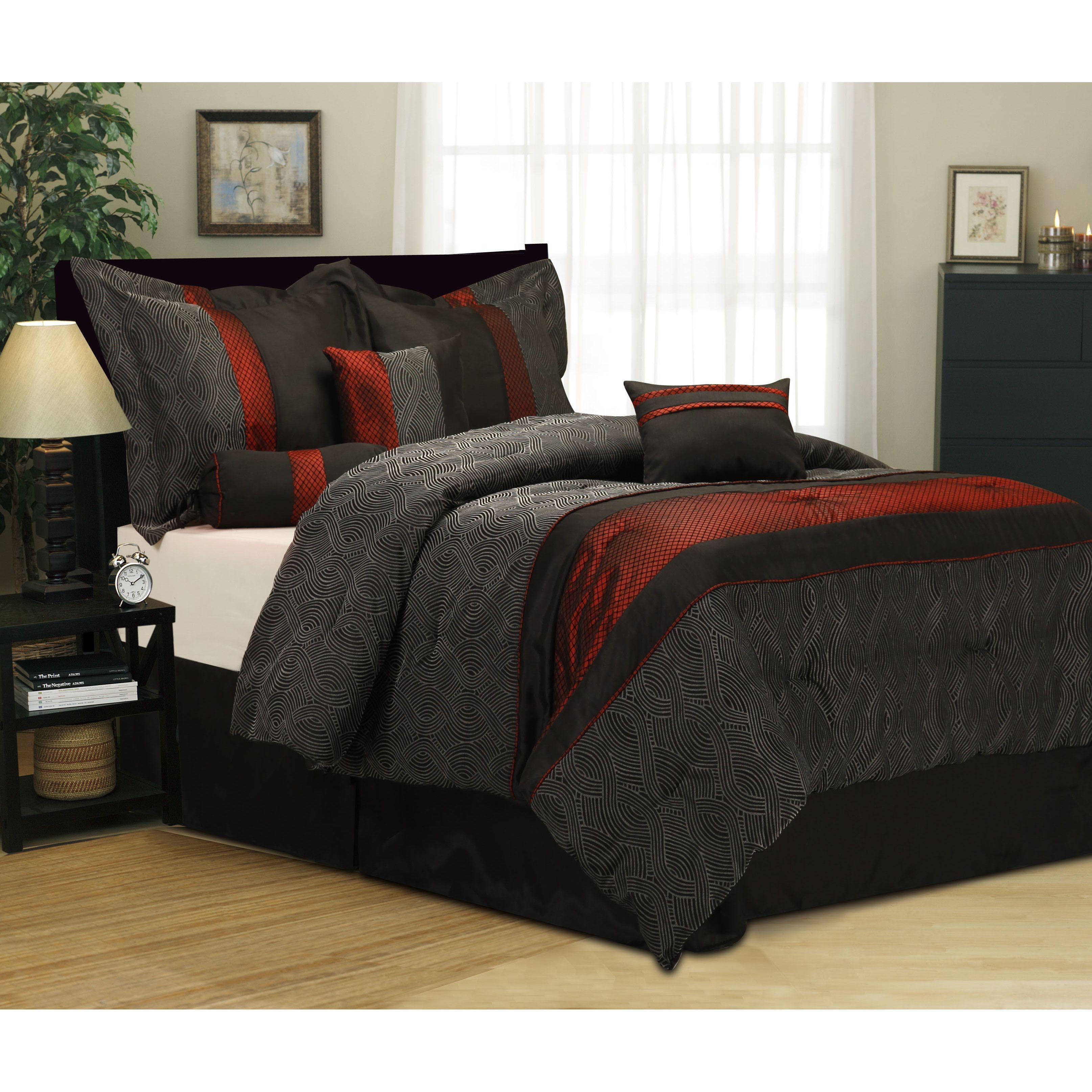 Nanshing corell red black 7 piece comforter set california king