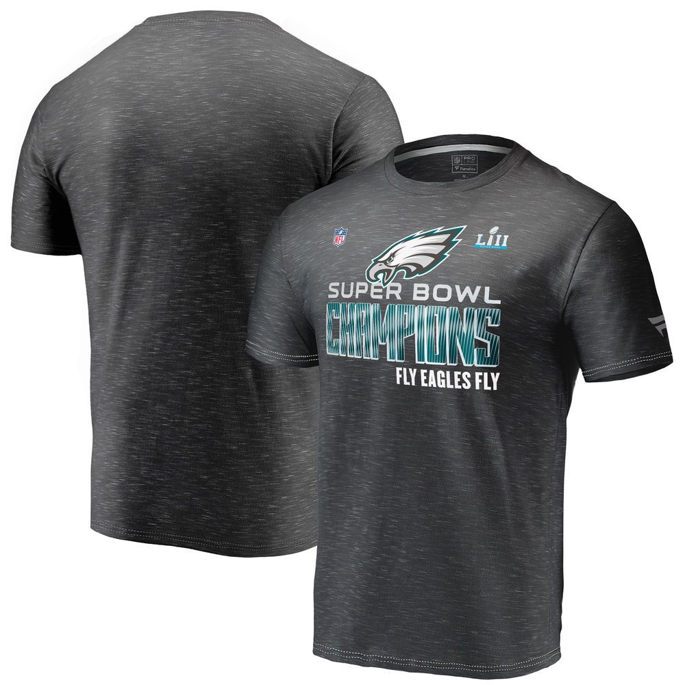a611c1f8e Men s Philadelphia Eagles NFL Pro Line by Fanatics Branded Heather Charcoal  Super Bowl LII Champions Trophy Collection Locker Room T-Shirt