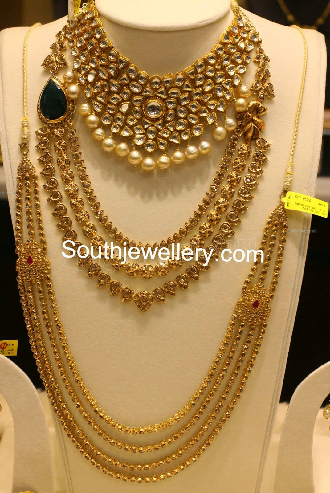 22 carat gold floral designer pendant with multiple beads chain and - Malabar Gold And Diamonds Google Search