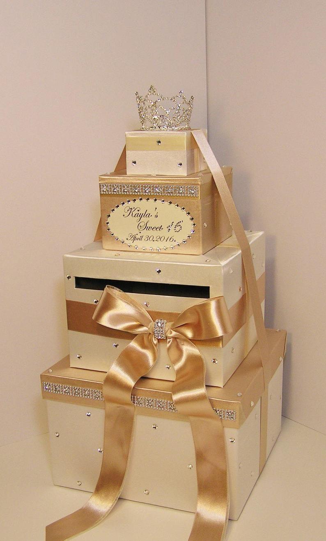 Quinceañera / Sweet 16 / Birthday /Wedding Card Box Black
