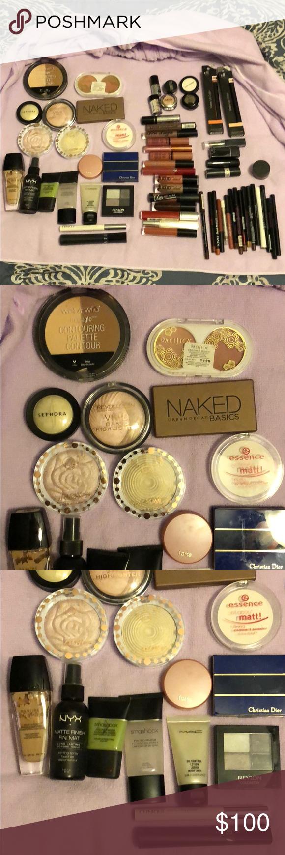 62pc Makeup lot Dior Sephora NYX Armani Naked I have a makeup lot 62pieces: 6 eyeliners, 10 lipliners, 2 wet eyeliners, 20 lipsticks (georgio armani, nyx, lancome, dior, nyx, vs), lipstains and lipglosses, 6 eyeshadows and 2 eyeshadow palettes (urban decay naked palette and revlon), 3 blush sets (dior, tarte, pacifica), 3 highlighters, 1 contour set, 1 matte powder, 1 guerlein liquid foundation in baige clair, 2 mascaras sephora, loreal, 1 clinique eyelash primer, 1 finishing spray, 2…