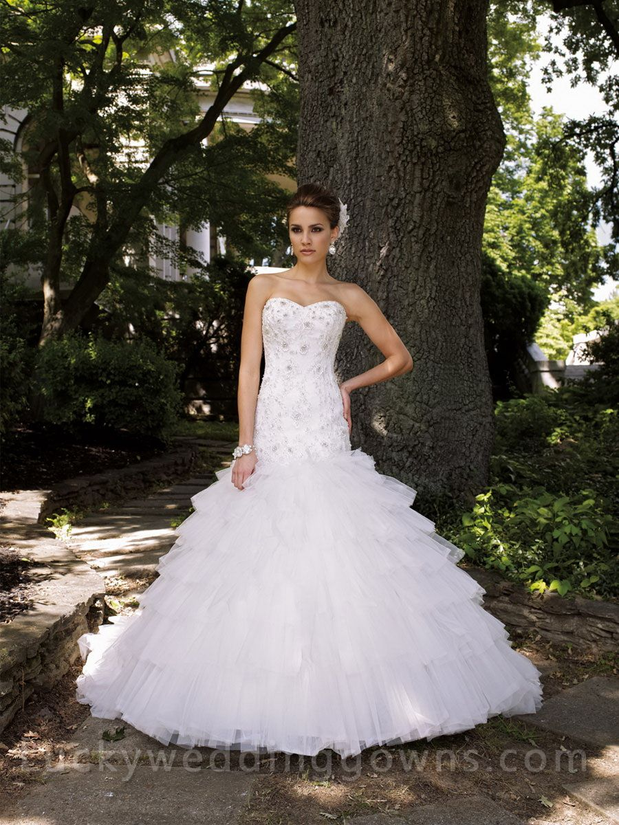 Wedding dresses with ruffles on skirt  Beaded Sweetheart Wedding Dress with Tiered Ruffled Tulle Skirt  My