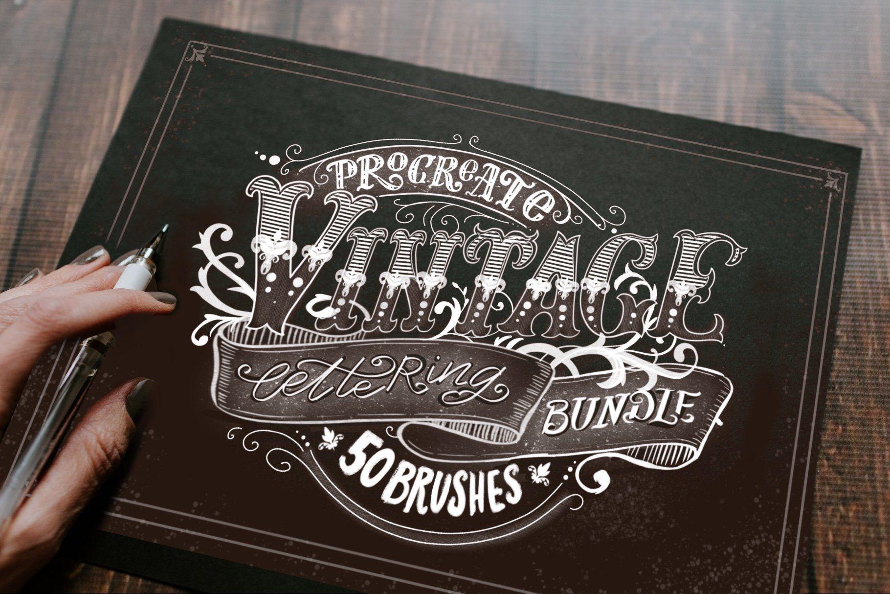 Procreate Vintage Lettering Bundle Vintage lettering