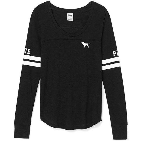 595078116babe Victoria's Secret Long Sleeve Football Tee,black ($20) ❤ liked on ...