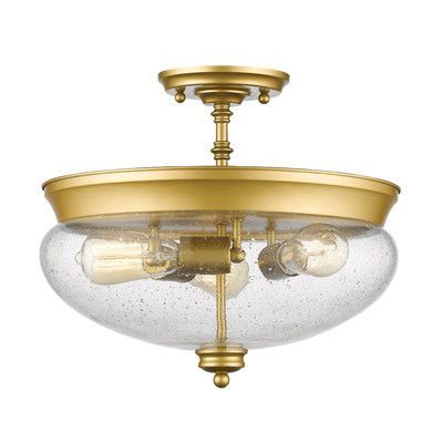 Z-Lite Amon 3 Light Semi Flush Mount Finish: Satin Gold