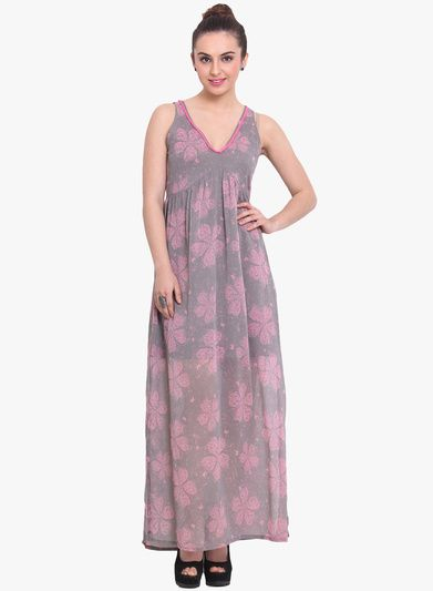 Buy Rena Love Grey Coloured Printed Maxi Dress for Women Online ...
