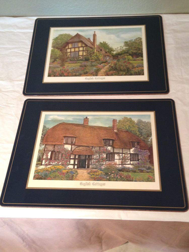 "Vintage Large Set of 2 Placemats English Cottages 15.5"" x 11.5"" England #Pimpernel"
