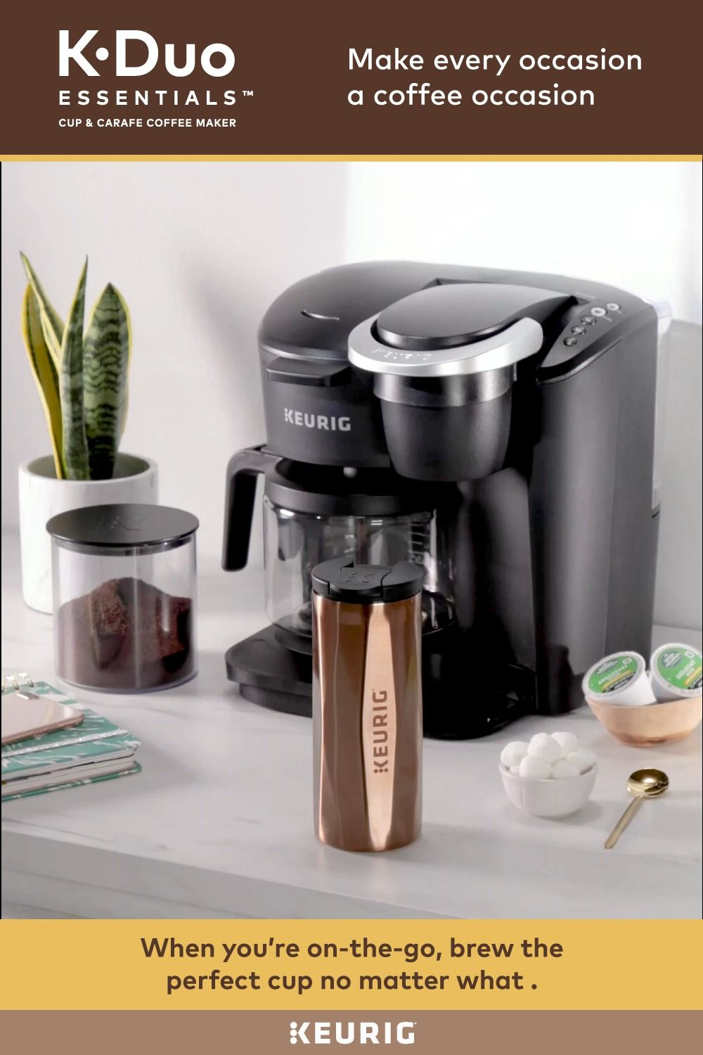 The new Keurig KDuo Essentials brewer can brew a carafe
