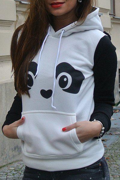 94b3c552167ec Fresh Style Ear Shape Hooded Panda Printed Fleece Pullover Hoodie For Women  in White