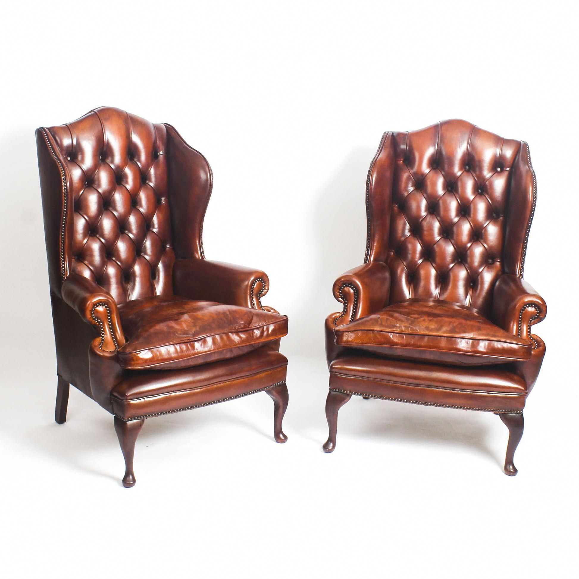 A Very Handsome Pair Of Bespoke New Leather Wingback Chairs Wingbackchair