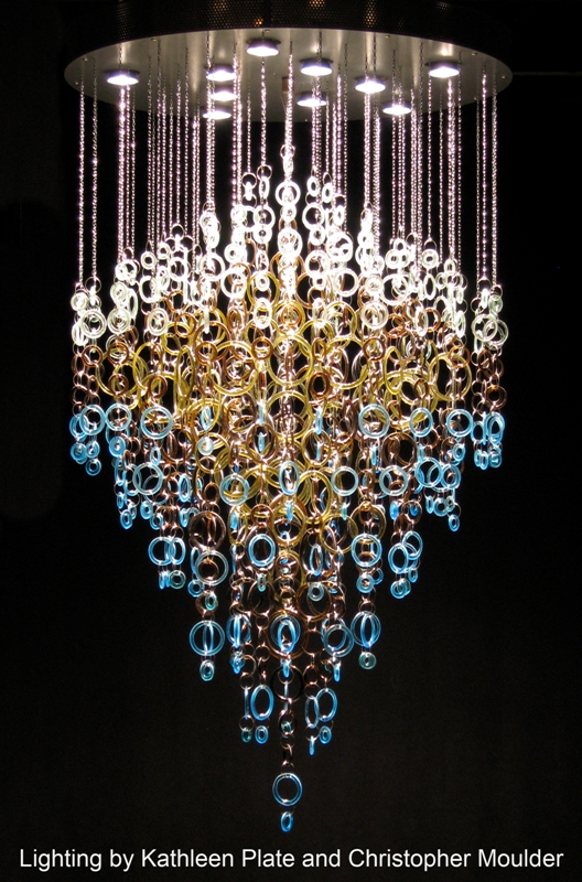 Gorgeous recycled glass chandelier by kathleen plate of smart glass gorgeous recycled glass chandelier by kathleen plate of smart glass and christopher moulder aloadofball Gallery