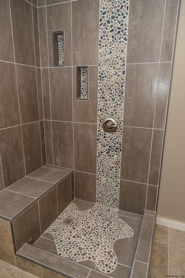 Pebble waterfall tile