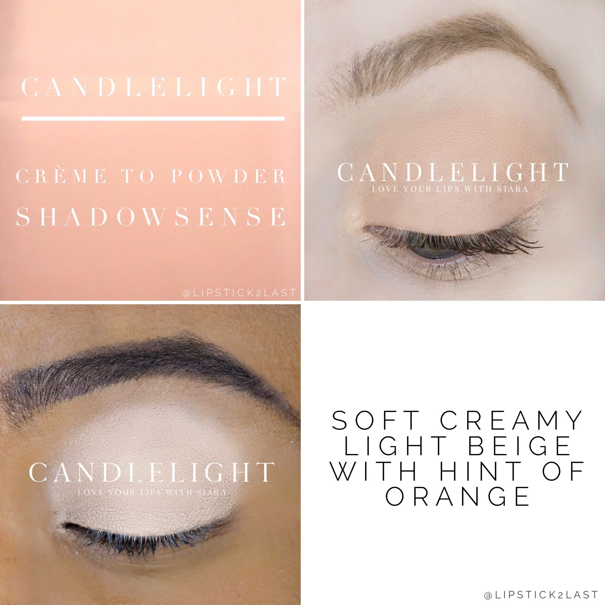 Candlelight Shadowsense. Creamy Peach Eyeshadow. Anti Aging Eyeshadow.  Shadowsense Color.