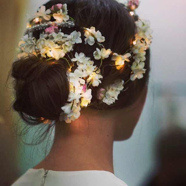 Fall Wedding Hairstyles With Flower Crown: LED Light Flower Crown - Reem Acra Fall 2014