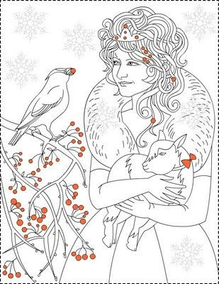 Nicole S Free Coloring Pages Winter Princess Red Berries Princess Coloring Page Printesa Iernii Coloring Pages Free Coloring Pages Fairy Coloring Pages