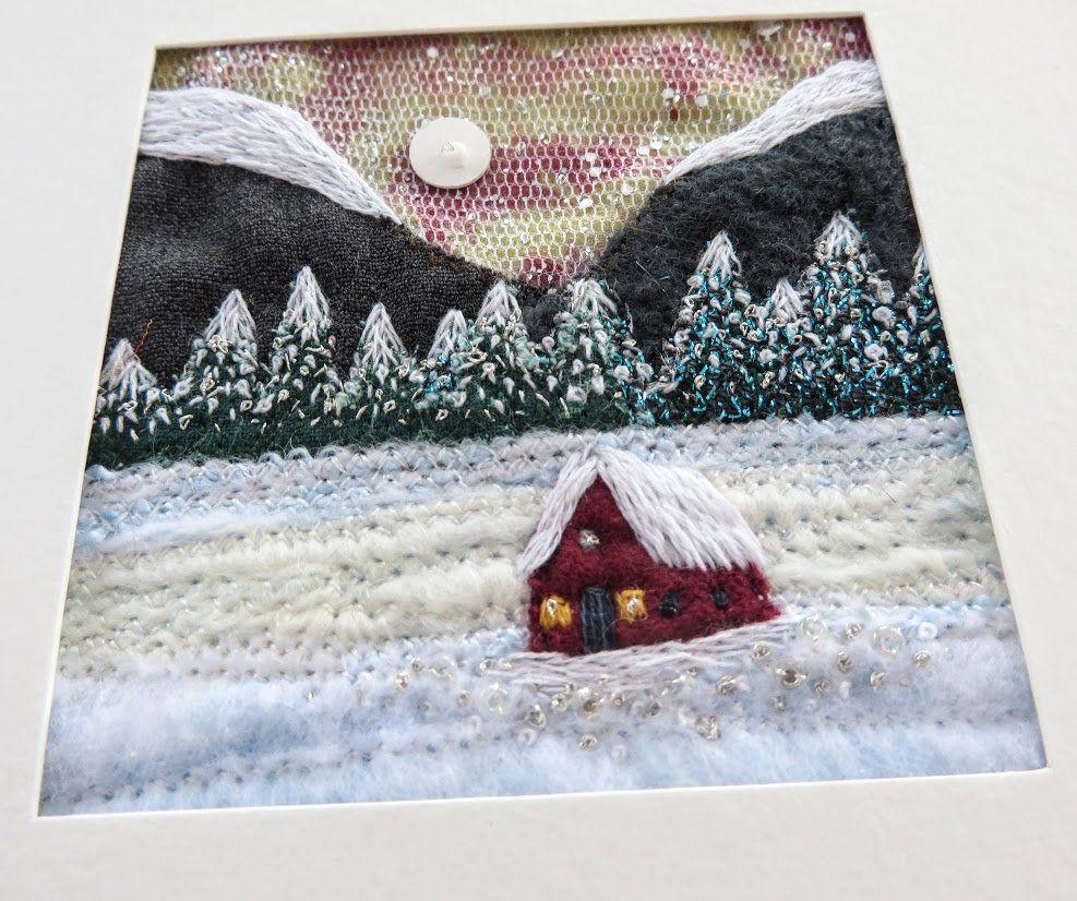 Winter snowscene - tiny cabin embroidered fibreart snowy landscape in 5.5