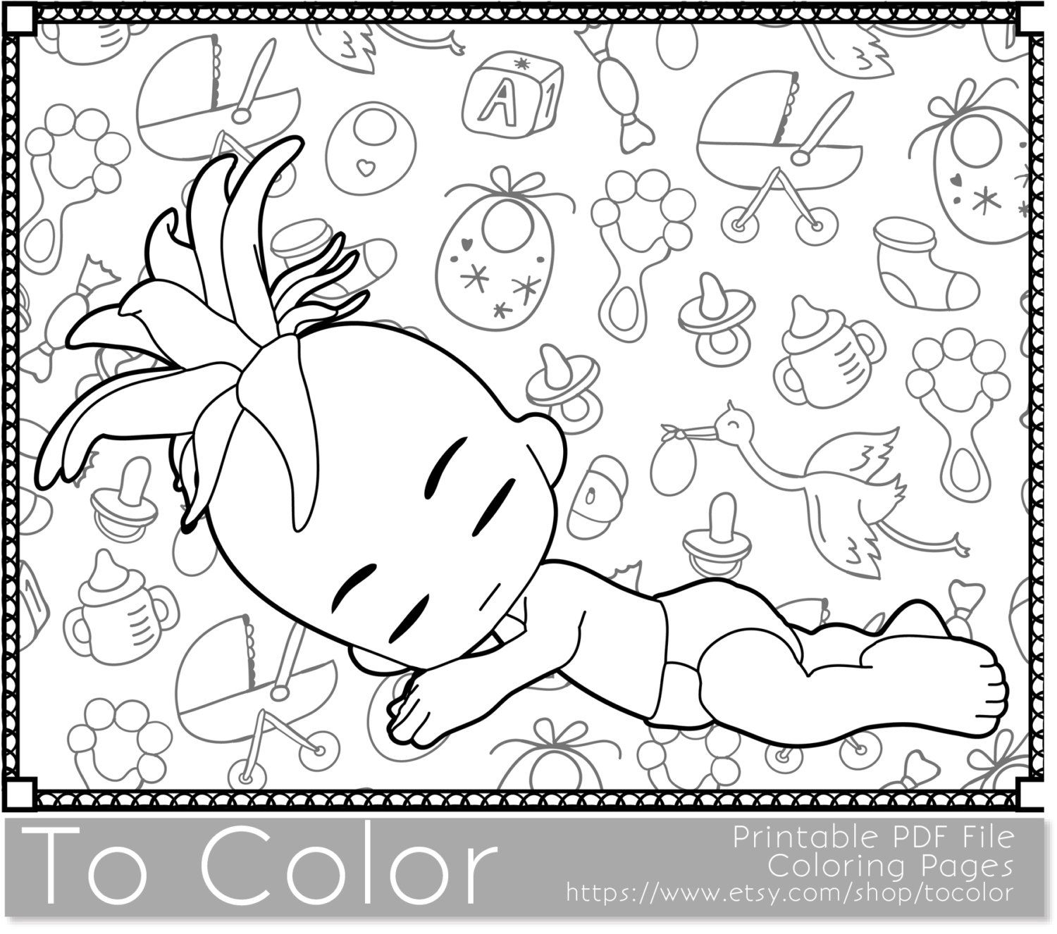 Baby Printable Coloring Pages For Adults Showers Girl PDF JPG